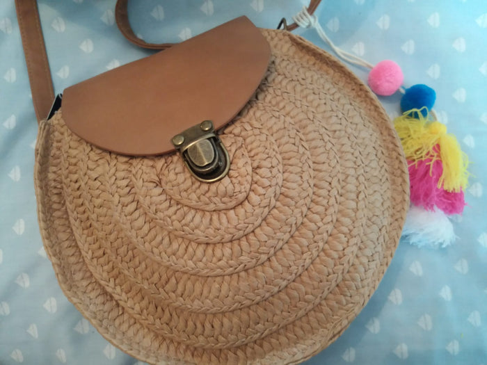 Dark Brown Circle Rattan Bag with Shoulder Pom Pom Strap