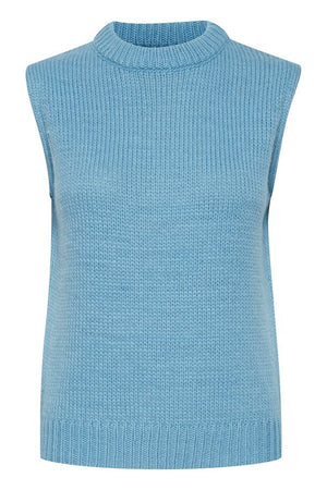 Ichi Knitted Sleeveless Pullover  - Delphinium Blue