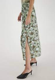 Ichi Swamp Long Skirt with Side Split