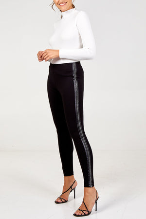 Embellished Side Stripe Back Zip Leggings- Black