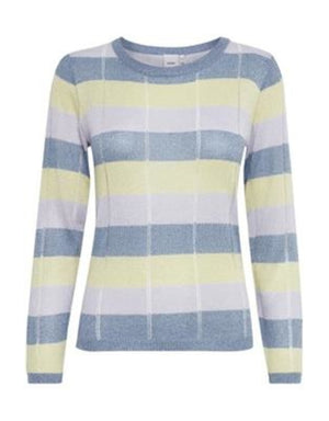 Ichi Fine Knit Multi Color Stripe Jumper