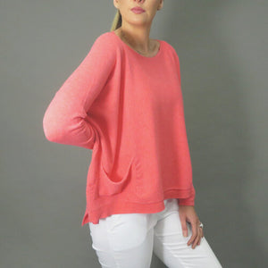 DECK by Decollage Knit Pullover  Coral  One Size 8-14