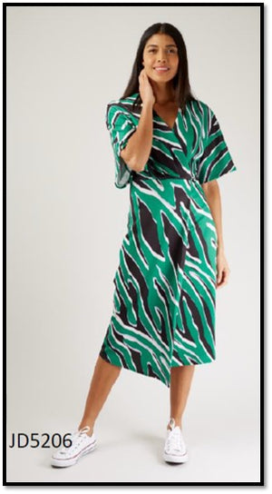 Zebra Printed Kimono Wrap Pencil Dress
