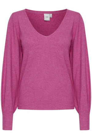 Ichi V Neck Knitted Pullover- Fuschia Red / Cerise