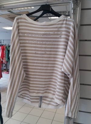Dreams Beige/White Stripe Jumper with silver back zip