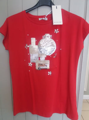 Sequin Red 'Penny' T-Shirt
