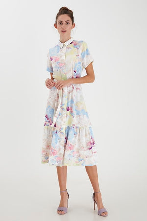 ICHI Painterly A line Shirt Dress with Belt