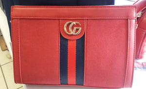 Red G Suede Clutch Bag