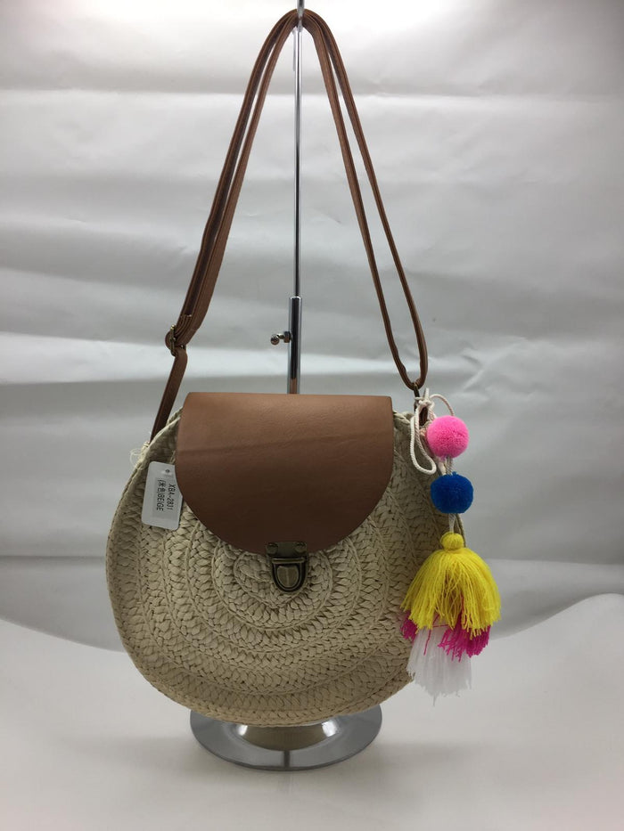 Light Brown Circle Rattan Bag with Shoulder Pom Pom Strap