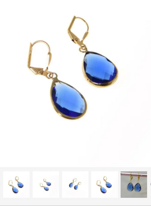 K Kajoux Jewels Royal Blue Deco Earrings Short