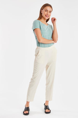 Tapoica Cream Ichi trousers with pockets