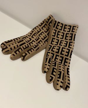 One Size Fashion Gloves-Black with Taupe Pattern