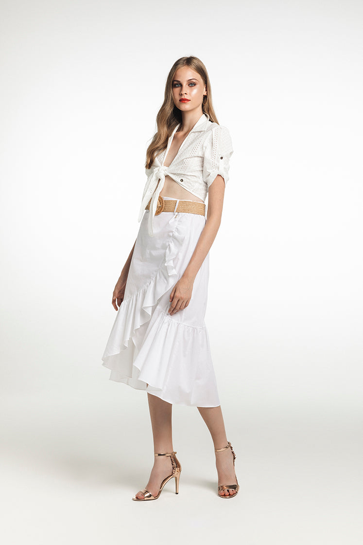 Fly Girl Long frill White Skirt