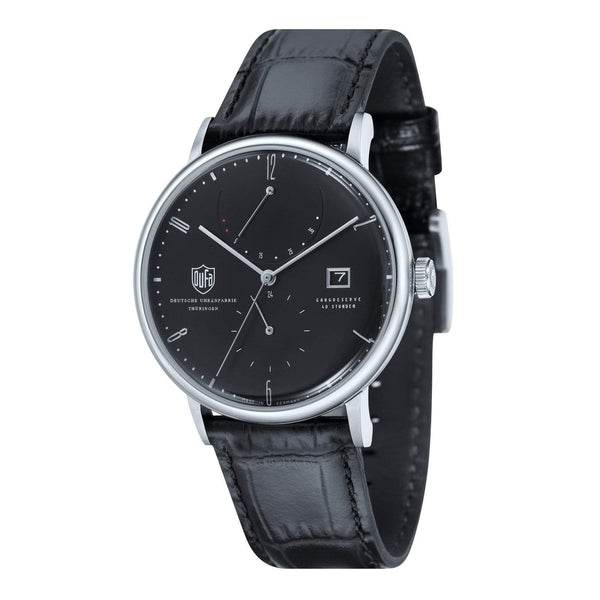 Albers black automatic power reserve watch - Monochrome