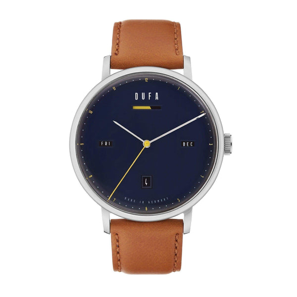 Aalto blue/brown automatic power reserve watch - Monochrome