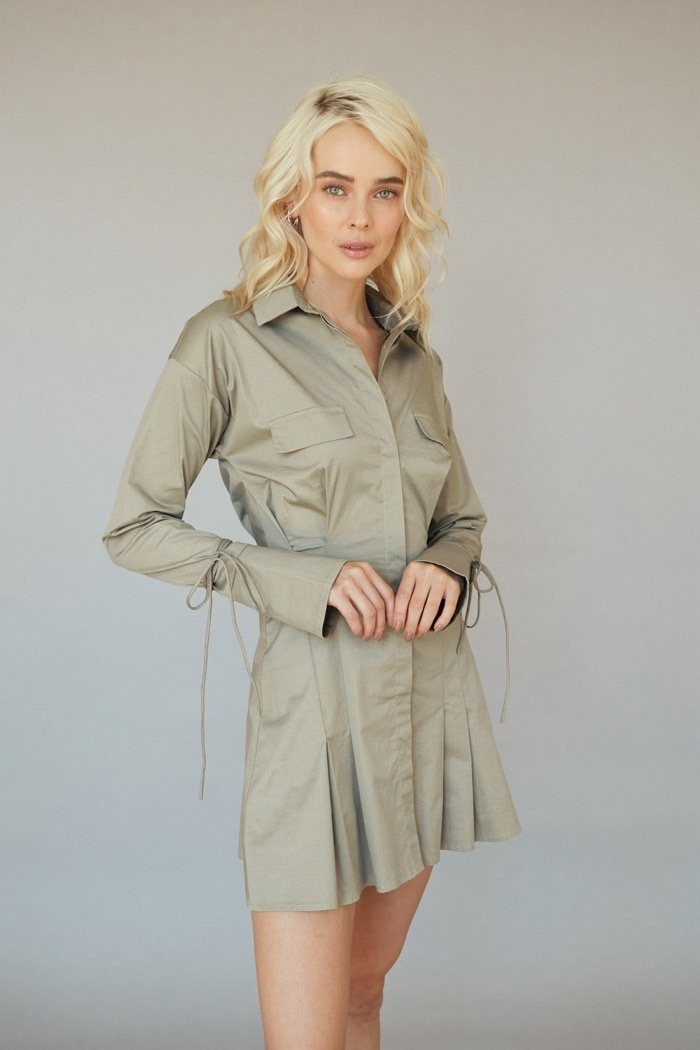 Khaki Buttoned Down Shirt Dress