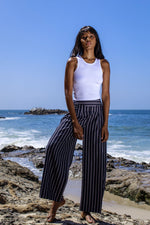 Navy Stripped Wide Leg Pant