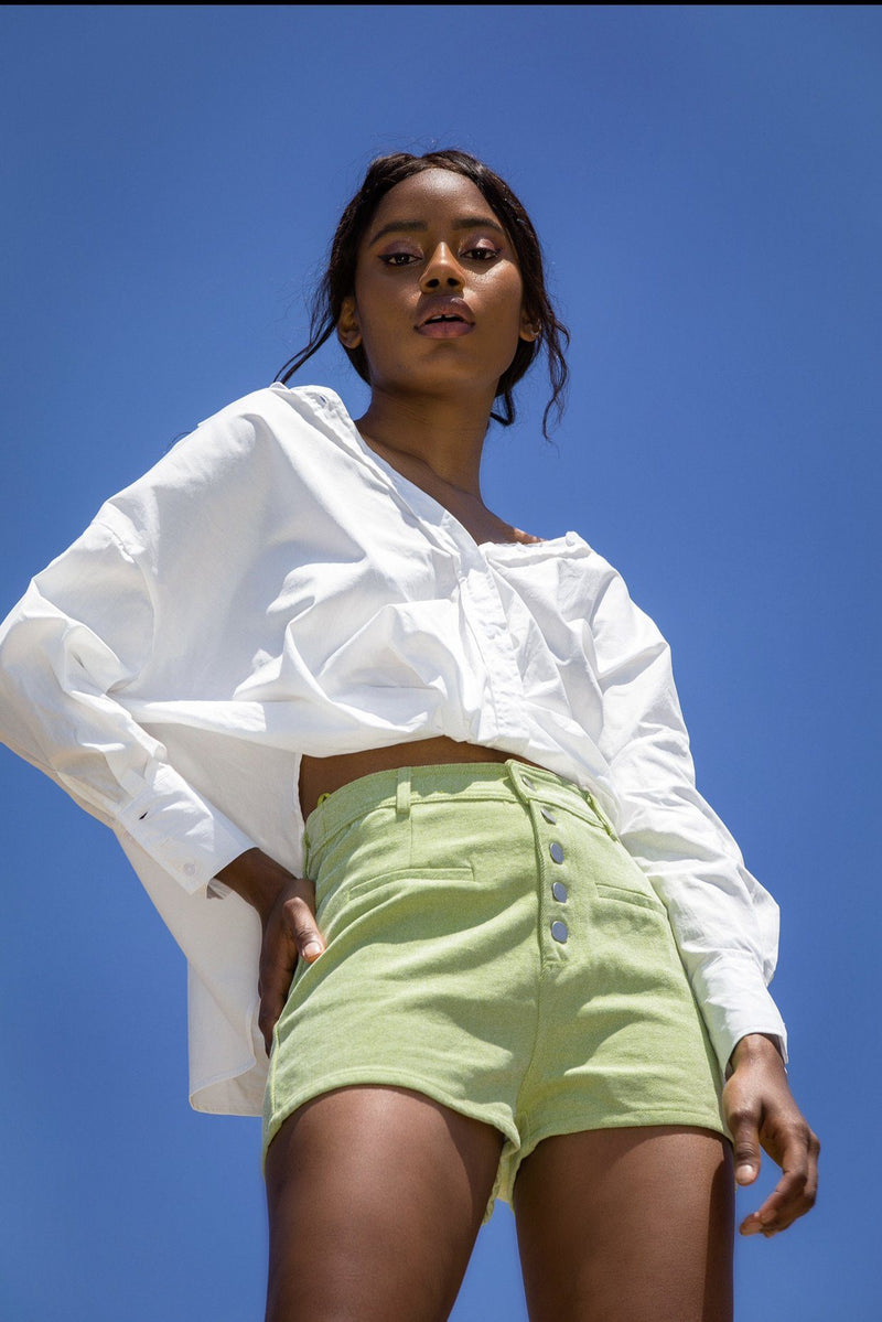 Buttoned Down Lime Shorts