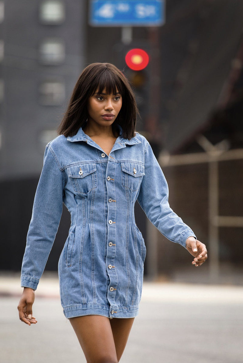 Tucked Denim Dress