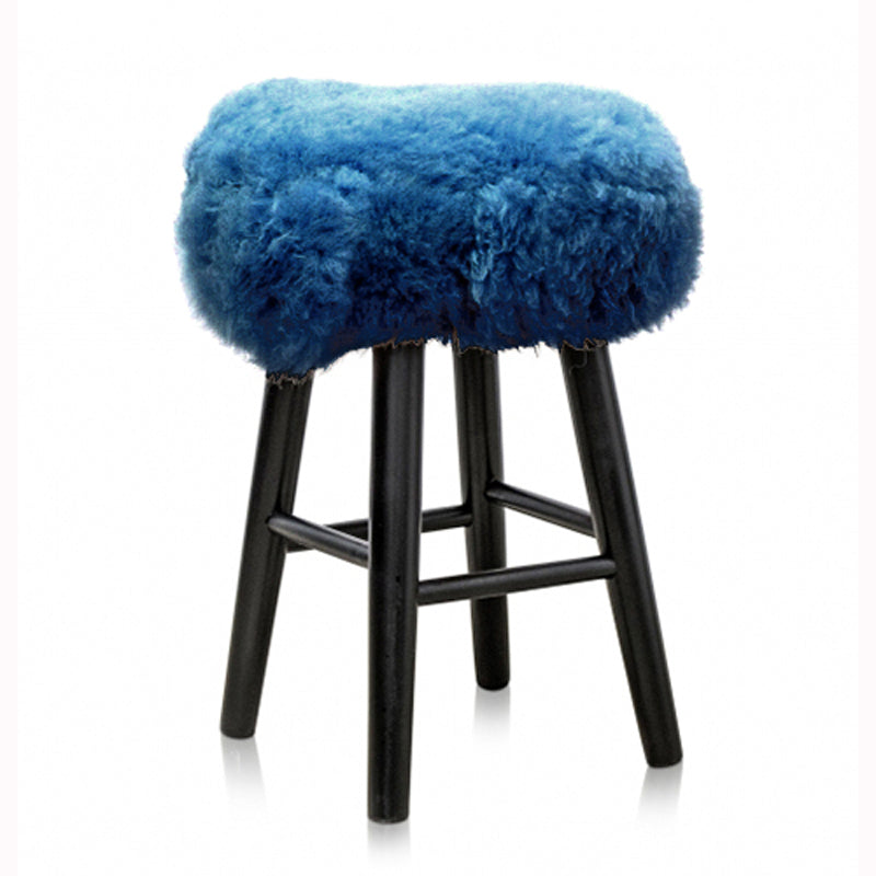 Sheepskin Stool Blue - OUTLET