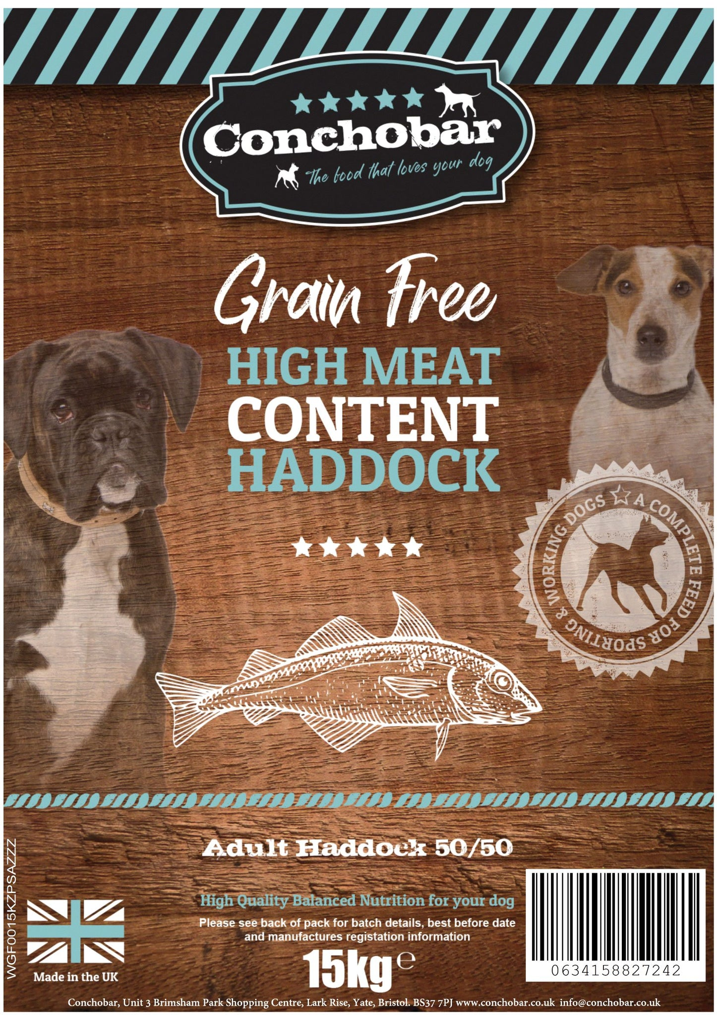 Conchobar Adult Haddock 50/50 30kg (2x15kg) - Conchobar, Adult Dog - Hypoallergic grain free dog food