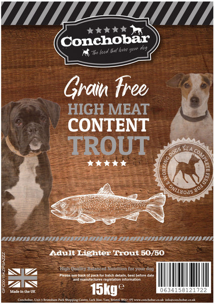 Conchobar Adult Lighter Trout 50/50 15kg - Conchobar, Adult Dog - Hypoallergic grain free dog food