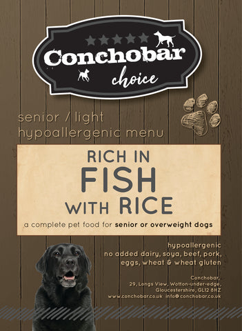 Choice Senior Light Fish & Rice 15kg - Conchobar, Choice Senior - Hypoallergic grain free dog food