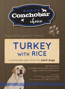 Choice Adult Turkey & Rice 30kg (2x15kg) - Conchobar, Choice Adult - Hypoallergic grain free dog food