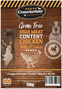 Conchobar Puppy Chicken with Turkey & Salmon 15kg - Conchobar, Puppy food - Hypoallergic grain free dog food