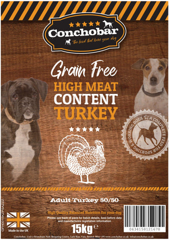 Conchobar Adult Turkey 50/50 15kg - Conchobar, Adult Dog - Hypoallergic grain free dog food