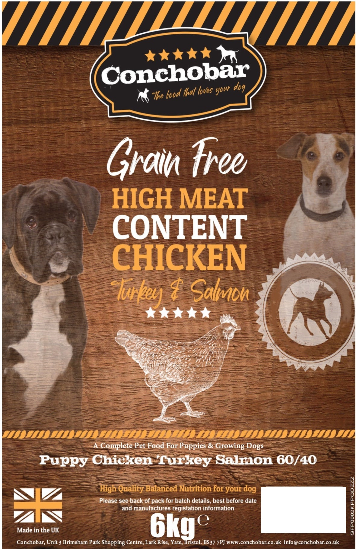 Conchobar Puppy Chicken with Turkey & Salmon 6kg - Conchobar, Puppy food - Hypoallergic grain free dog food