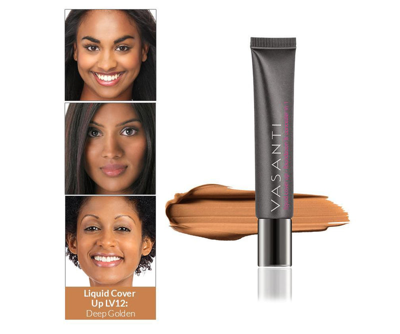 Vasanti Cover Up Foundation and Concealer in 1 - Shade LV12 Deep Golden - Front shot with swatch