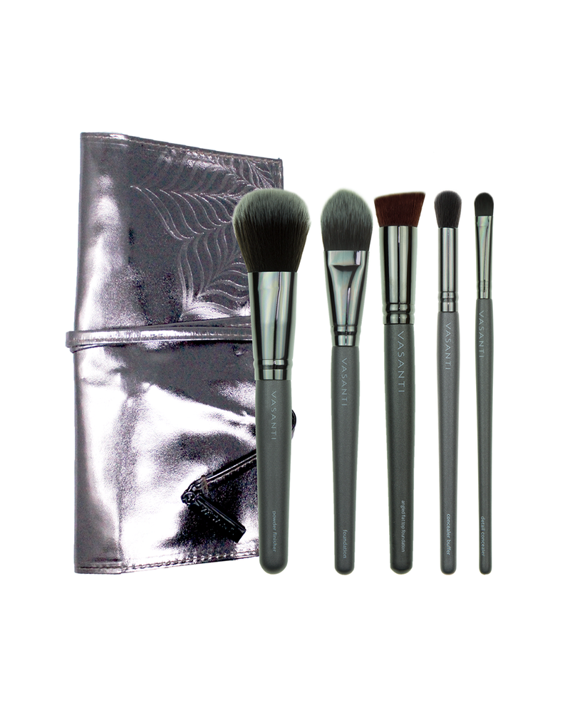 Vasanti Pro Flawless Complexion Brush Set with pouch - Front Shot