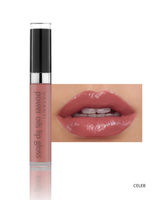 Vasanti Power Oils Lip Gloss - Shade Celeb lip swatch and product front shot