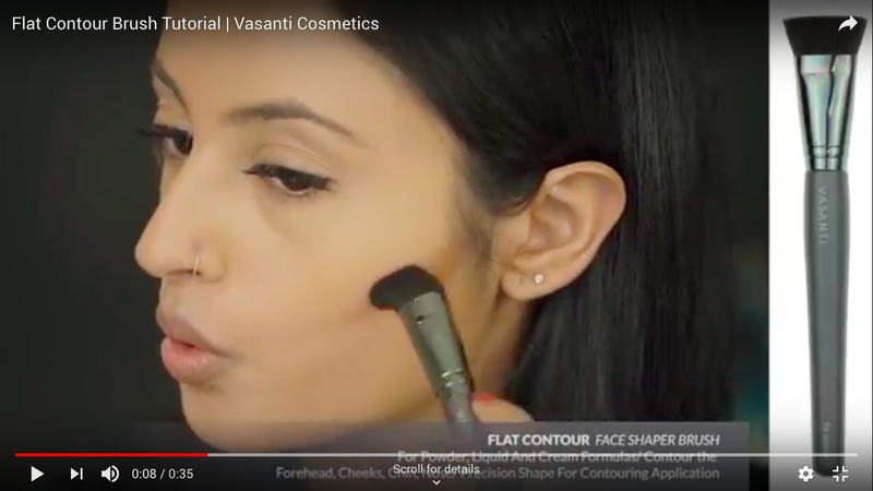 A girl applying contour to her face using Vasanti Flat Contour - Face Shaper Brush - Screenshot from Youtube video
