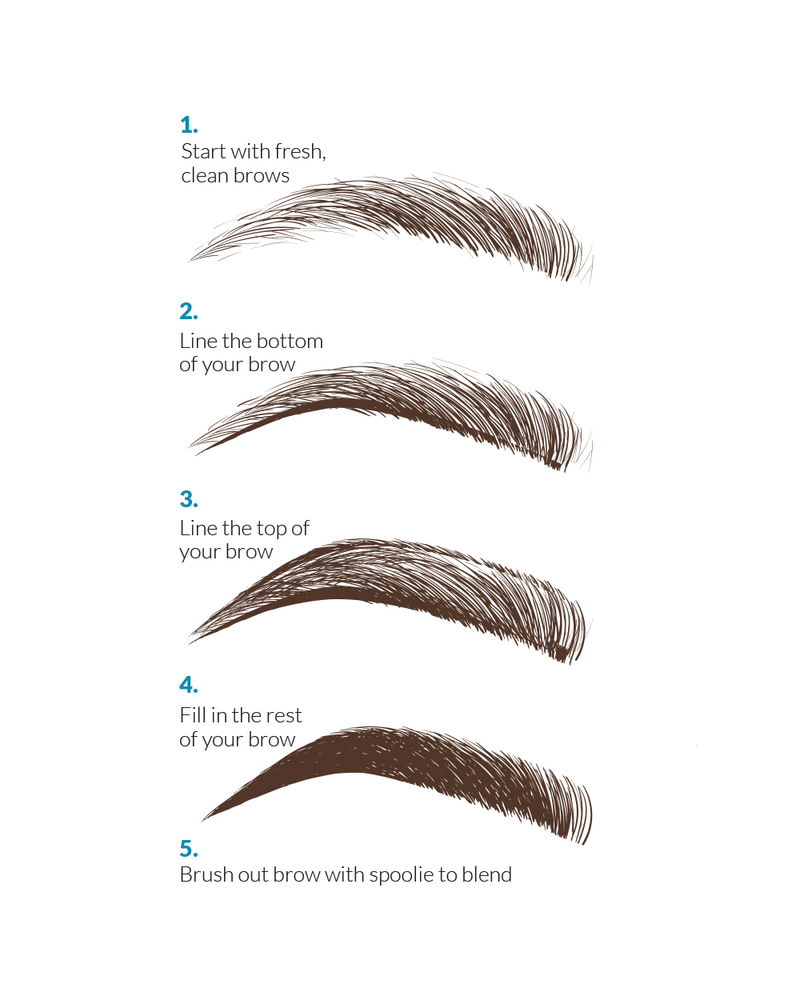 Step by step instruction with illustrations on how to use Vasanti Brow Powder Pencil.