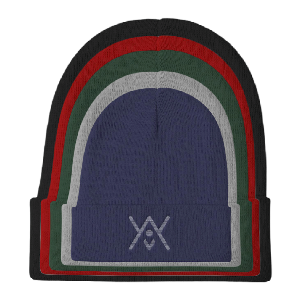 YAY White Logo - Multi Colored Knit Beanie