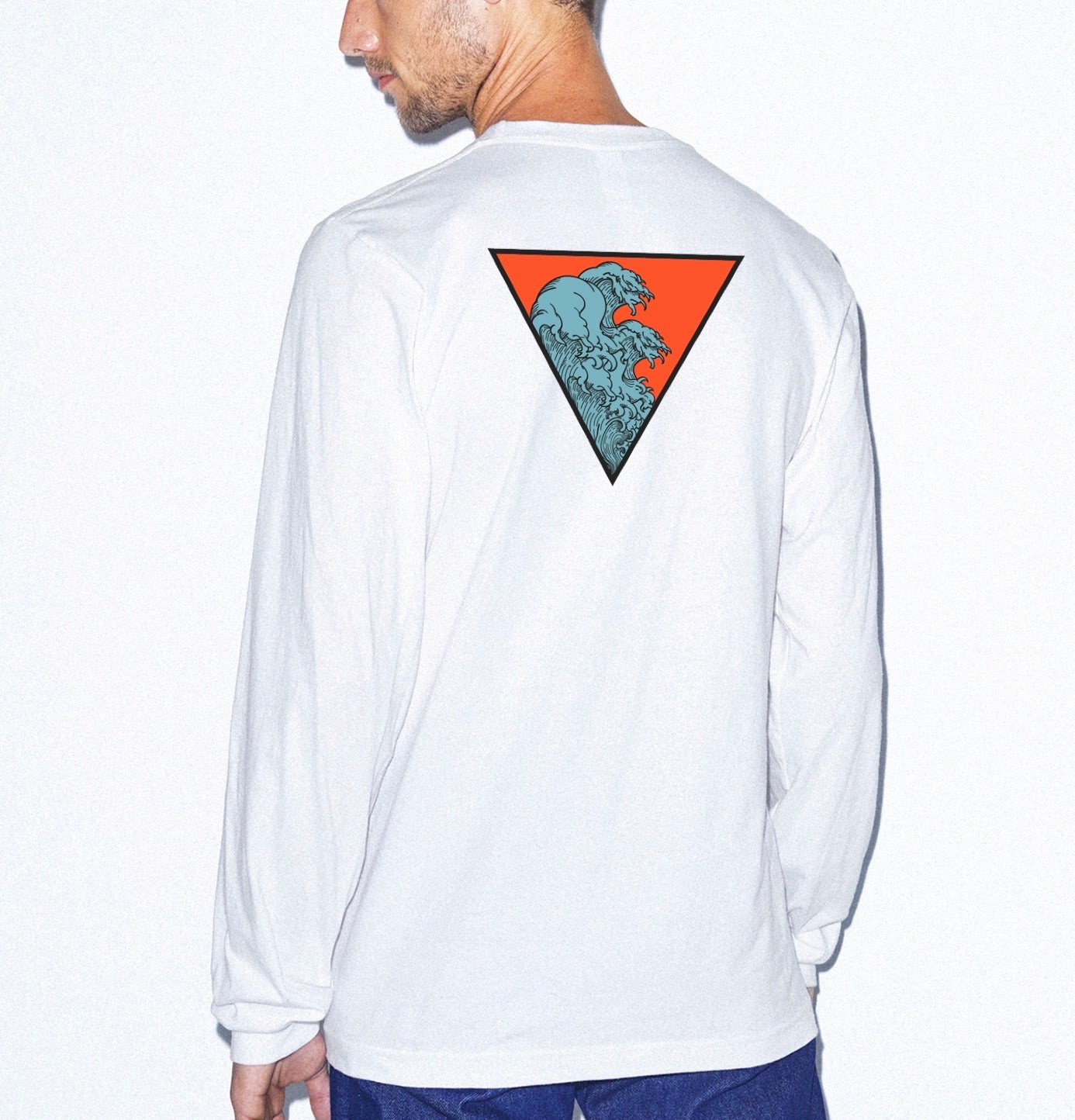 Blue Big Wave Oversized long sleeve tee
