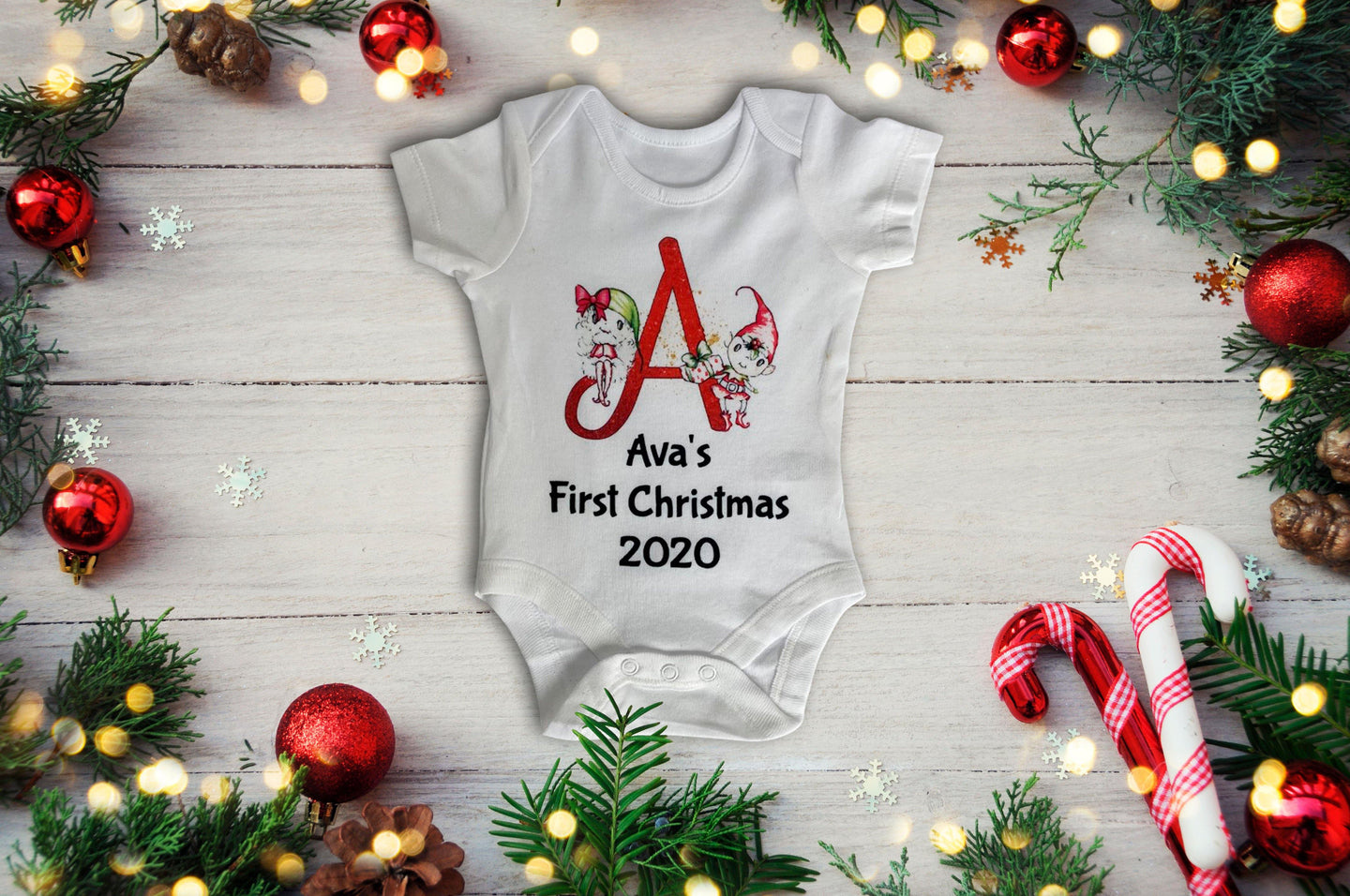 Personalised Baby's first christmas vest