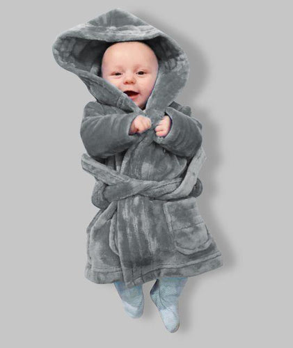 Matching Children's Personalised Grey Hooded Robe- COMING Soon