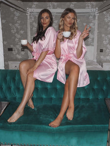 Baby pink silk robes -Robes4you