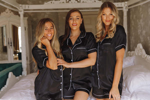 Black silk personalised pjs-Robes4you