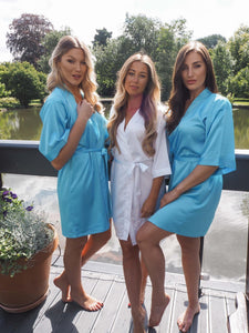 Blue satin bridal robes -Robes4you