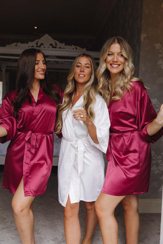 Burgundy bridesmaid silk robes -Robes4you