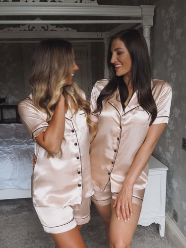 champagne silk pjs -Robes4you