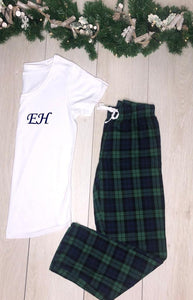 Christmas Pyjamas- Personalised cotton pyjamas - Navy and Green checkered pyjamas - Robes 4 You