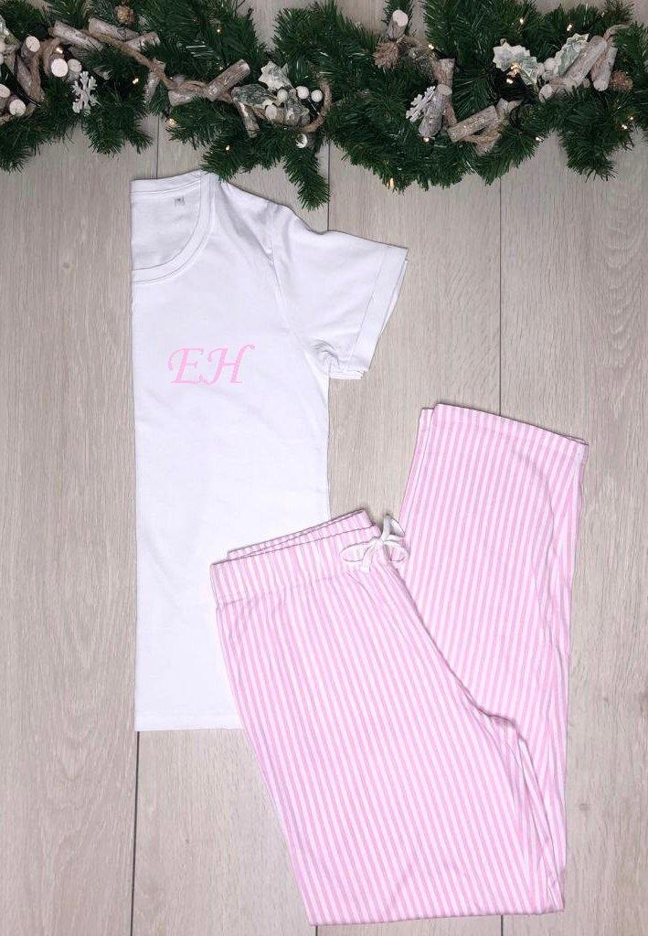 Christmas Pyjamas- Personalised cotton pyjamas - Baby pink and white stripes - Robes 4 You