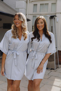 Grey satin personalised robes-Robes4you