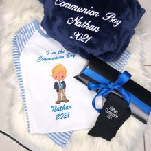 Load image into Gallery viewer, Boys Communion hamper  Navy Fluffy Robe and Blue Cotton Pyjamas with Boy  & Socks & Album