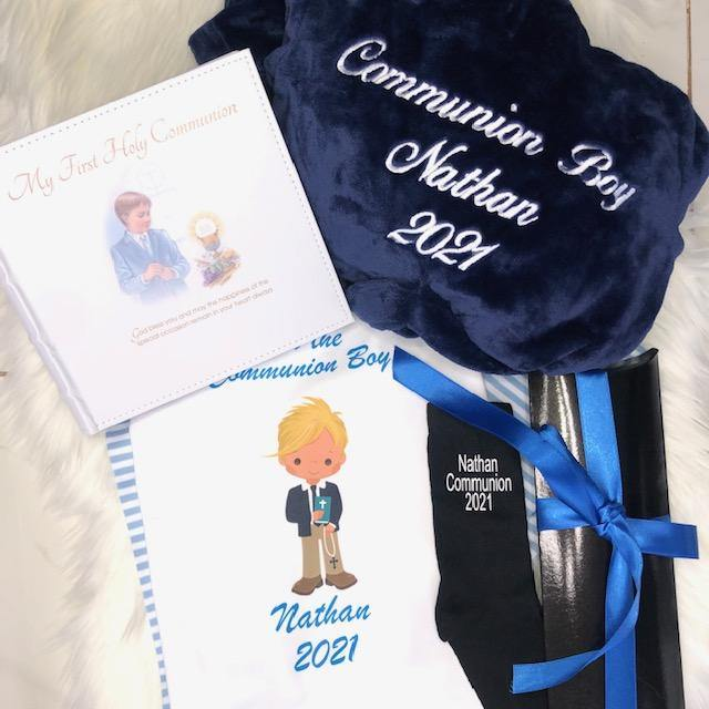 Boys Communion hamper  Navy Fluffy Robe and Blue Cotton Pyjamas with Boy  & Socks & Album